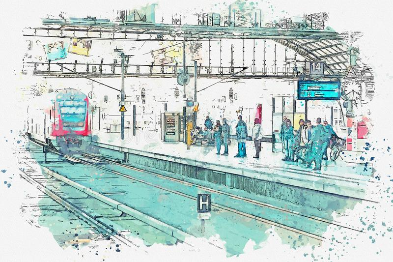 A watercolor sketch or an illustration. The central station in Berlin. People are waiting for the train on the platform. A watercolor sketch or an illustration royalty free illustration