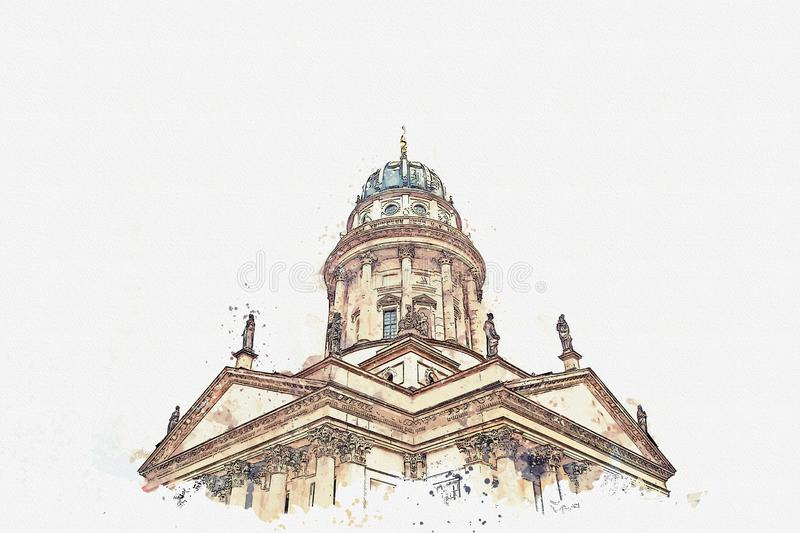 A watercolor sketch or an illustration. French Cathedral or Franzoesischer Dom in Berlin, Germany. Evangelic and Lutheran church of Germany and architecture stock illustration