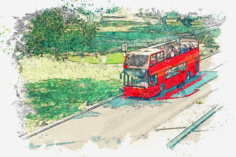 A watercolor sketch or illustration. Tourist bus rides on the road to Lisbon in Portugal. vector illustration
