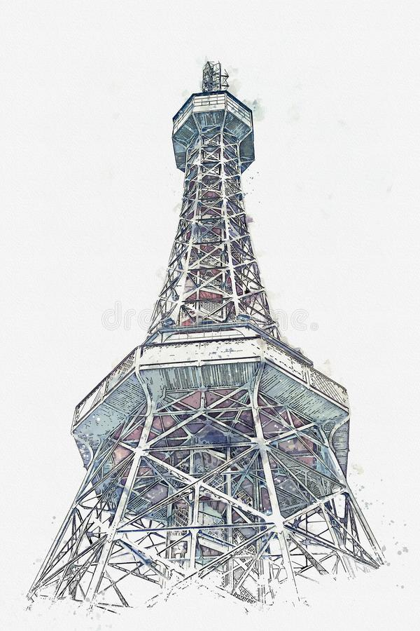A watercolor sketch or illustration of the tower at Petrin Hill in Prague stock photos