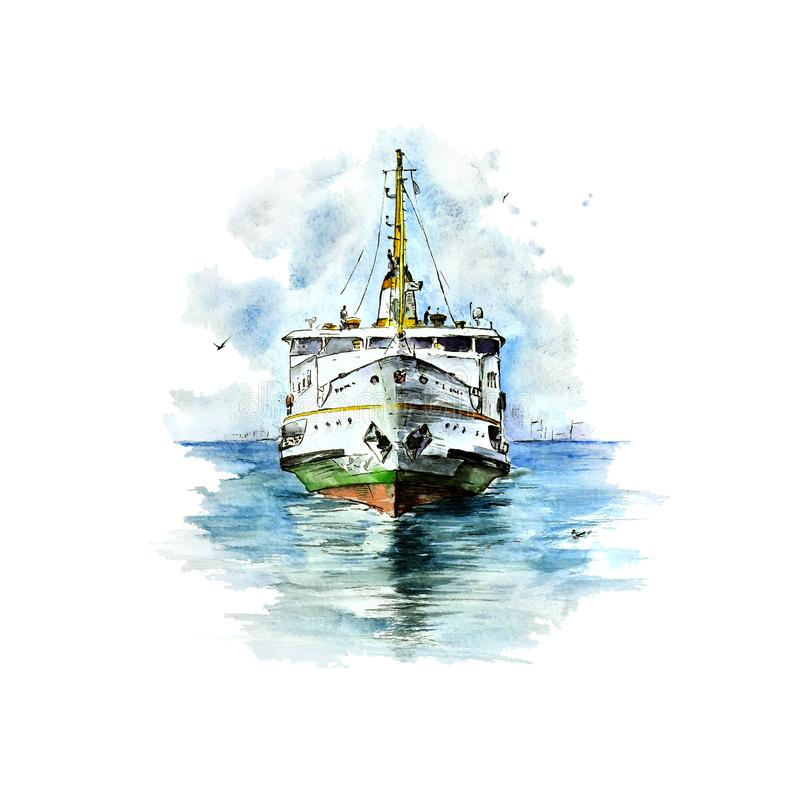Watercolor sketch of Istanbul`s ferry on white background vector illustration