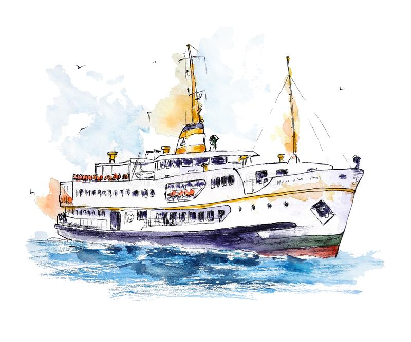 Watercolor sketch of Istanbul`s ferry on white background royalty free illustration
