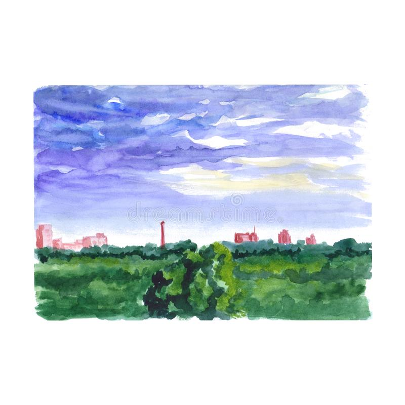 Watercolor sketch of the landscape. With the tops of trees and houses on the horizon vector illustration