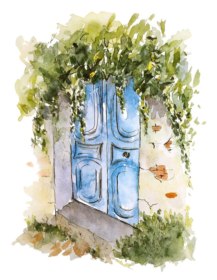 Watercolor sketch of old shabby wooden blue door with greenery royalty free illustration