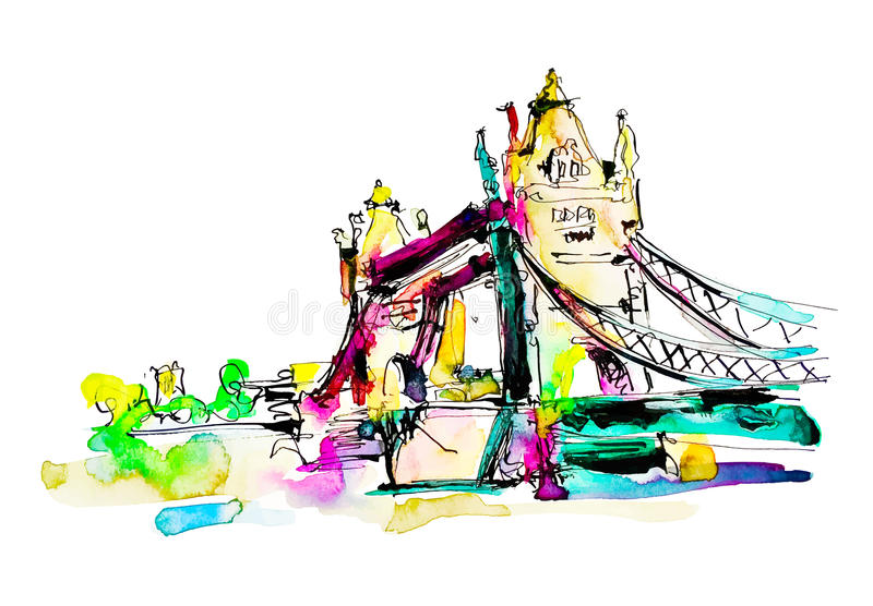 Watercolor sketch painting of The Tower Bridge in London town stock illustration