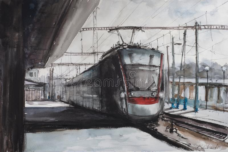 Watercolor sketch of railway station stock illustration
