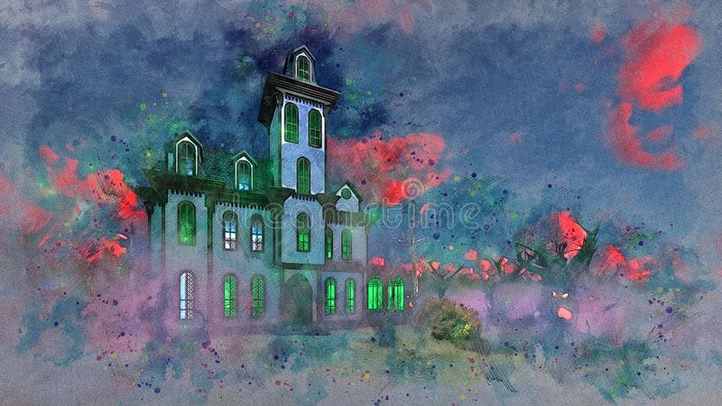 Haunted mansion at eerie sunset watercolor sketch. Watercolor sketch of scary haunted mansion with fantastic green light in windows at eerie mystical red colored vector illustration