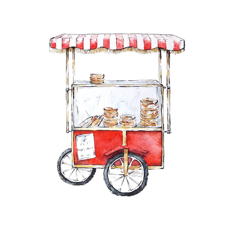 Watercolor sketch of Simit cart, Istanbul, Turkey stock illustration