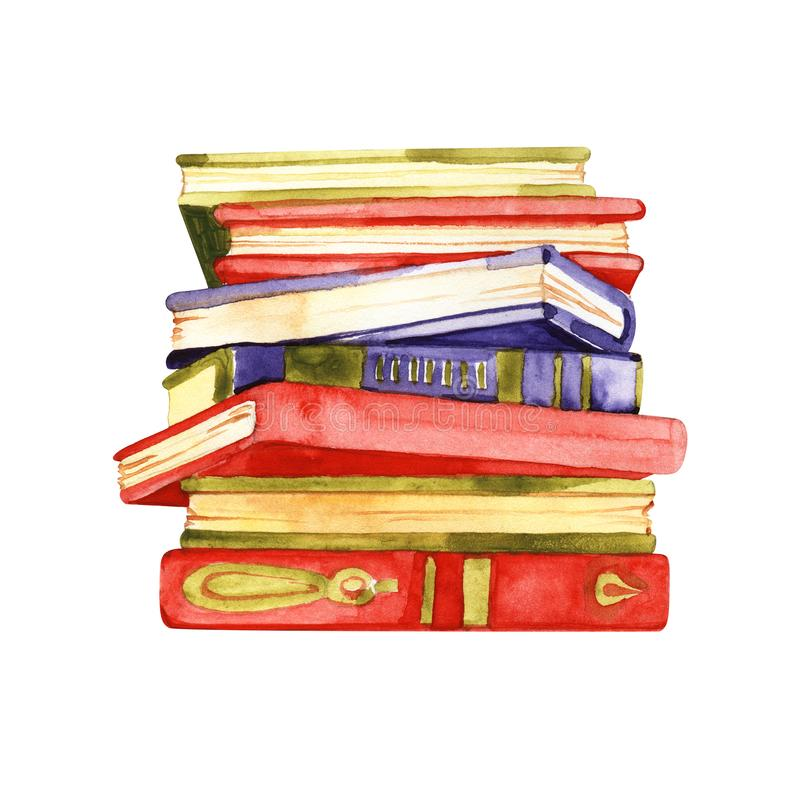 Watercolor sketch of stack of books isolated on white background stock illustration