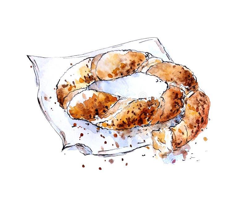 Watercolor sketch of turkish bagel simit stock illustration