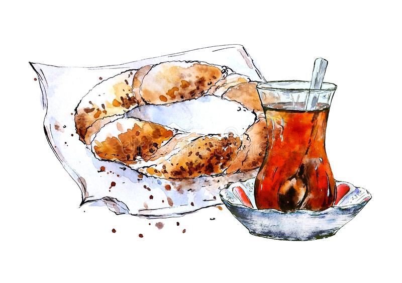 Watercolor sketch of turkish bagel `simit` and traditional tea vector illustration