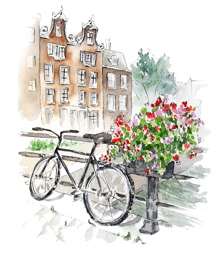 Watercolor sketch of typical view of Amsterdam, Netherlands. Hand painted composition with bike on a bridge, flowers and traditional houses. Perfect for cards stock illustration
