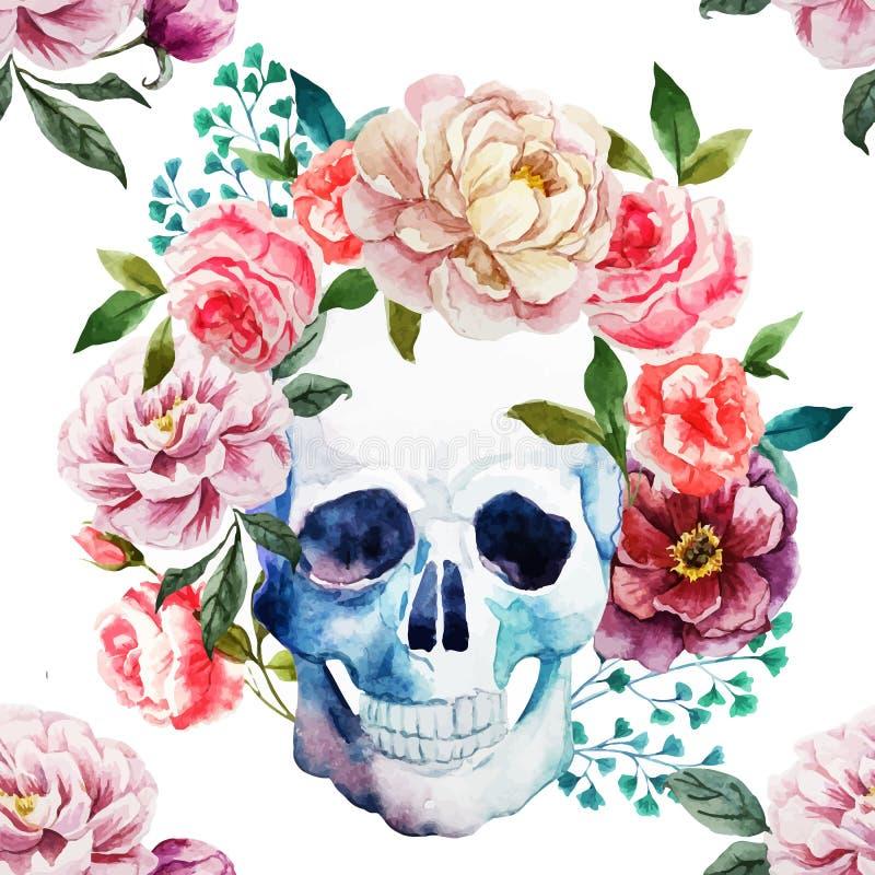 Watercolor skull. Beautiful vector image with nice watercolor skull