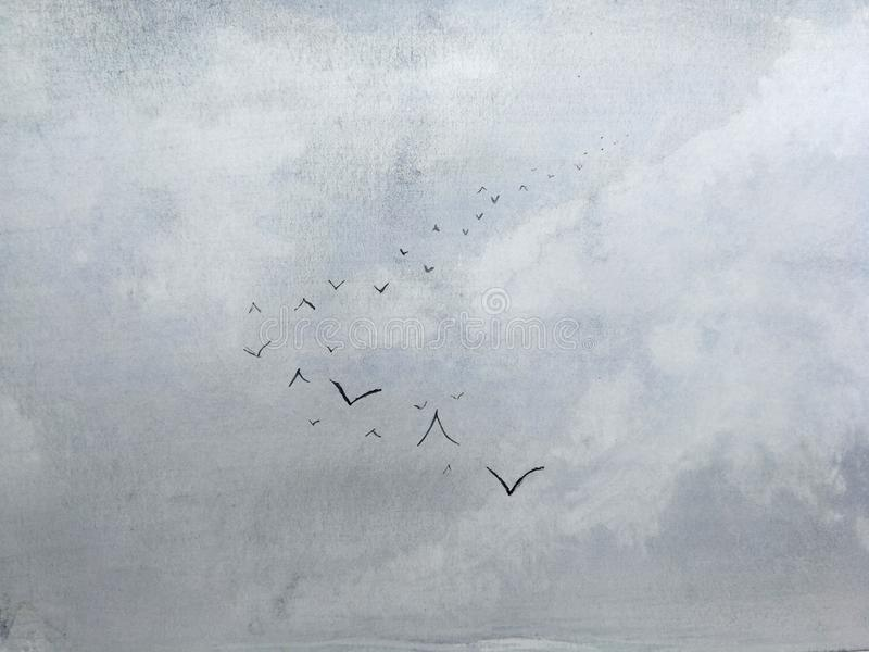 Watercolor sky with birds. stock illustration