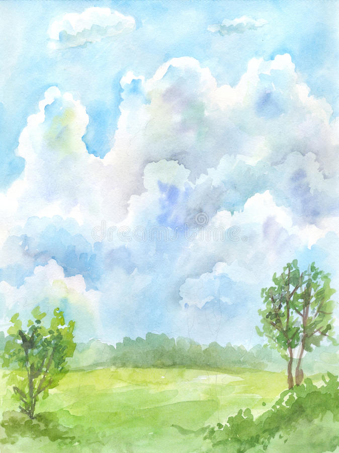 Watercolor sky royalty free illustration