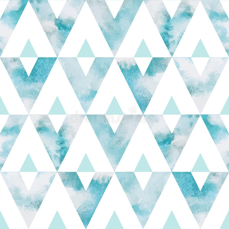 Watercolor sky triangles seamless vector pattern vector illustration