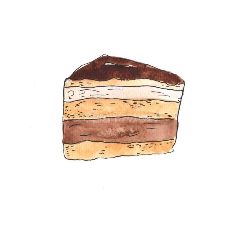 Watercolor slice of cake on white background. Hand painted illustration. Watercolor slice of cake on white background. Hand painted illustration vector illustration