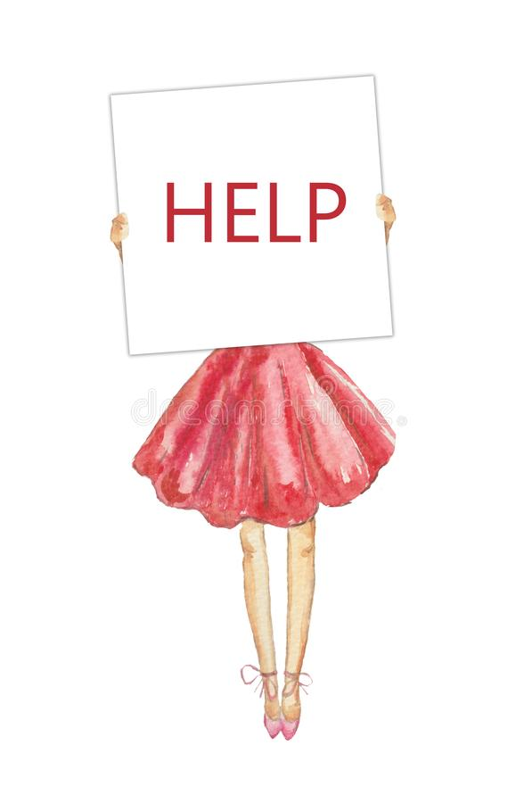 Watercolor slim girl in a lush pink skirt holding white board, asking for help, demanding for public support, pressure vector illustration
