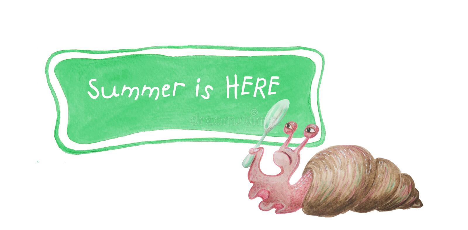 Watercolor snail snail holds a magnifying glass and reads text. royalty free illustration