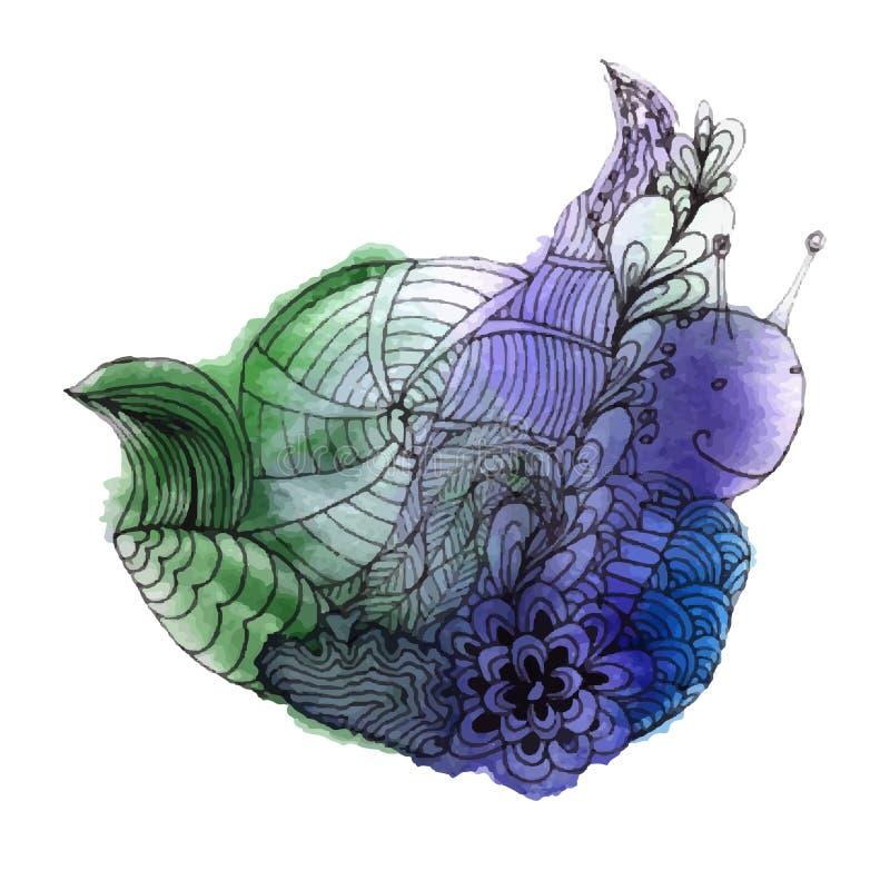 Watercolor snail stock illustration