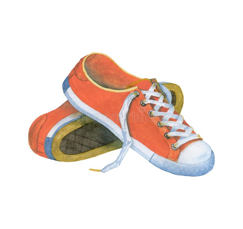 Watercolor sneakers color live coral. royalty free illustration