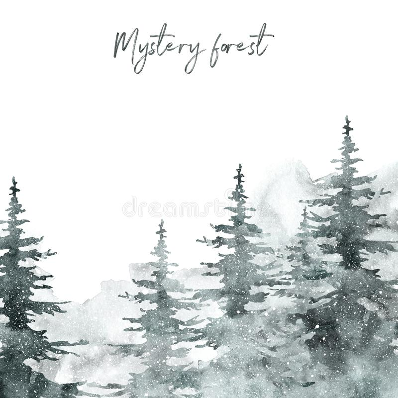 Watercolor snow winter forest landscape background with space for text. pine and spruce trees on white backdrop for Christmas stock photo