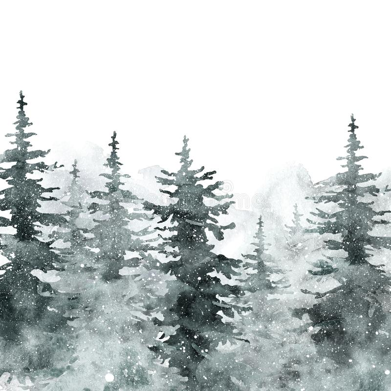 Free Watercolor Snow Winter Forest Landscape Background With Space For Text. Snowy Pine And Spruce Trees On White Backdrop Stock Images - 156564304