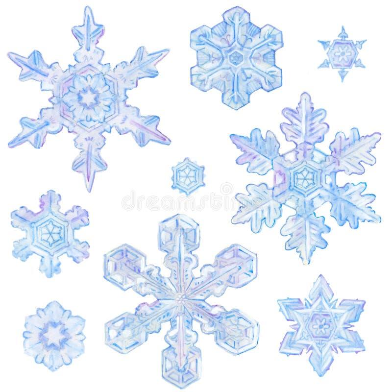 Watercolor snowflakes royalty free stock photo