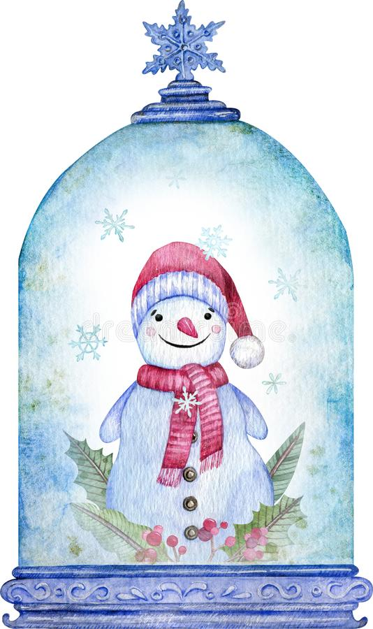 Free Watercolor Snowman In The Blue Christmas Snow Globe. New Year Symbol. Christmas Card. Royalty Free Stock Photos - 163497978