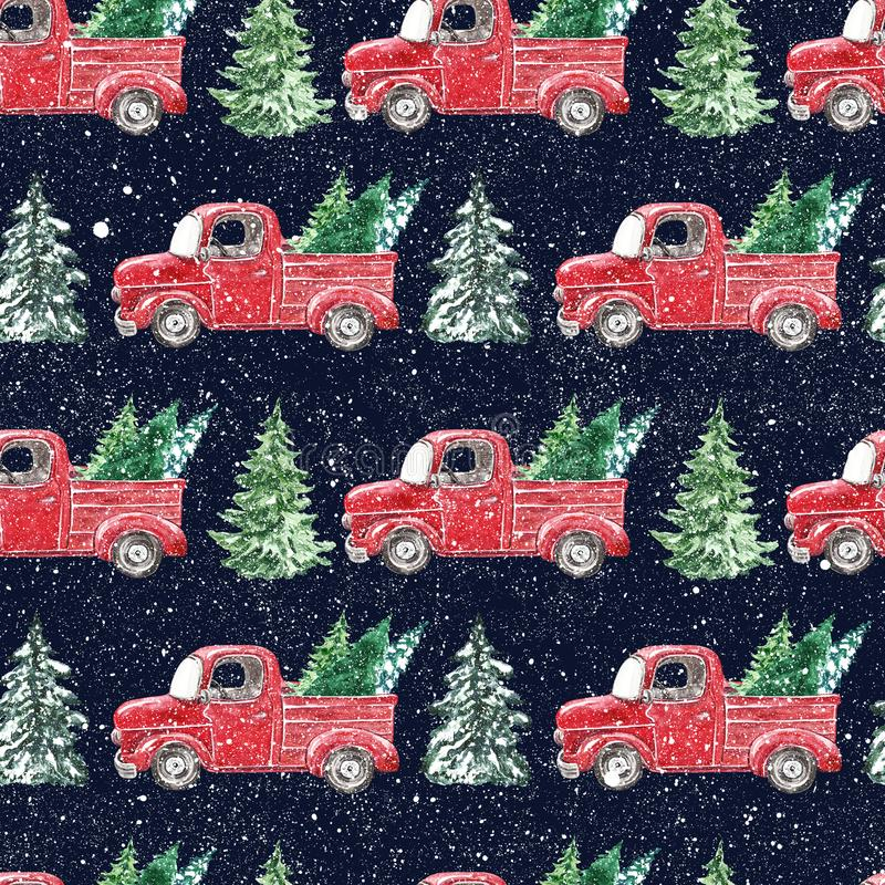 watercolor snowy red truck pine trees seamless pattern winter christmas night falling snow vintage car blue background 164364462