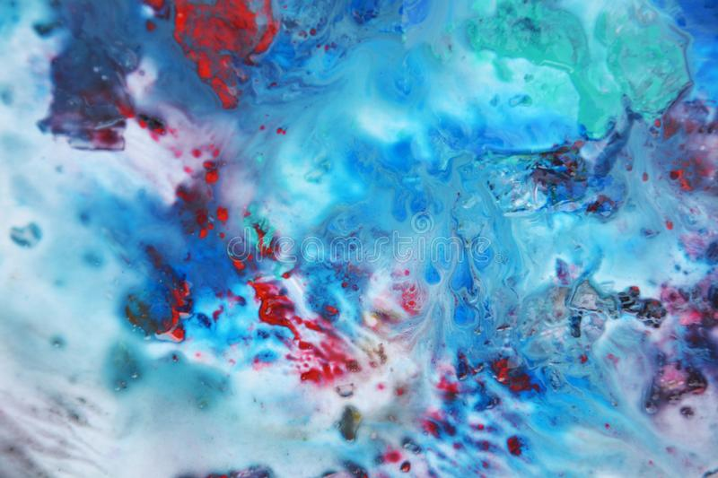 Blue pink white red green dark paint, soft mix colors, painting spots background, watercolor colorful abstract background stock illustration
