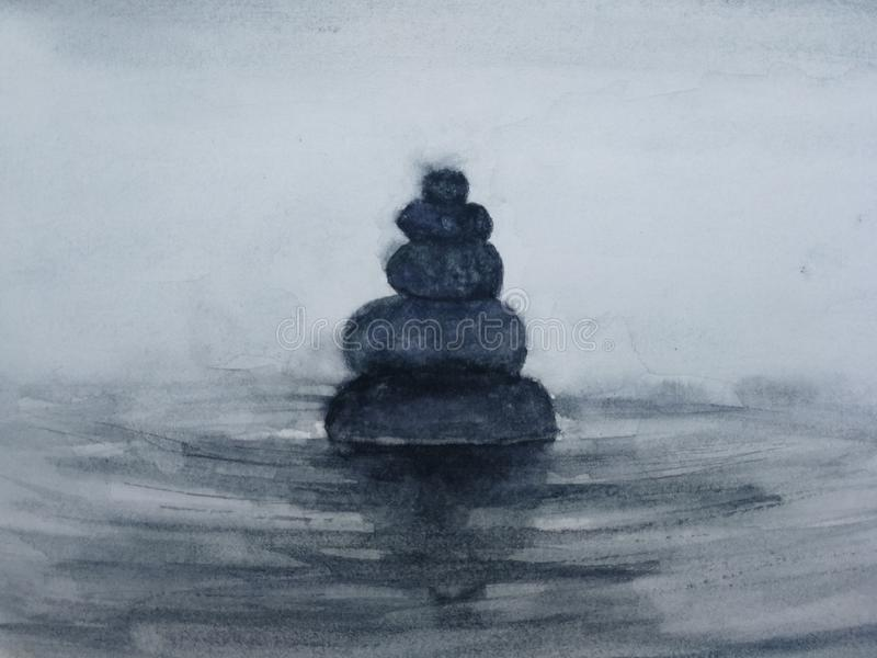 Watercolor spa zen stones. hand drawn royalty free illustration