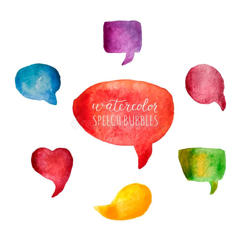 Watercolor speech bubbles set. Colorful watercolor textures with brush strokes. Bright bubbles isolated on white background. Hand stock illustration