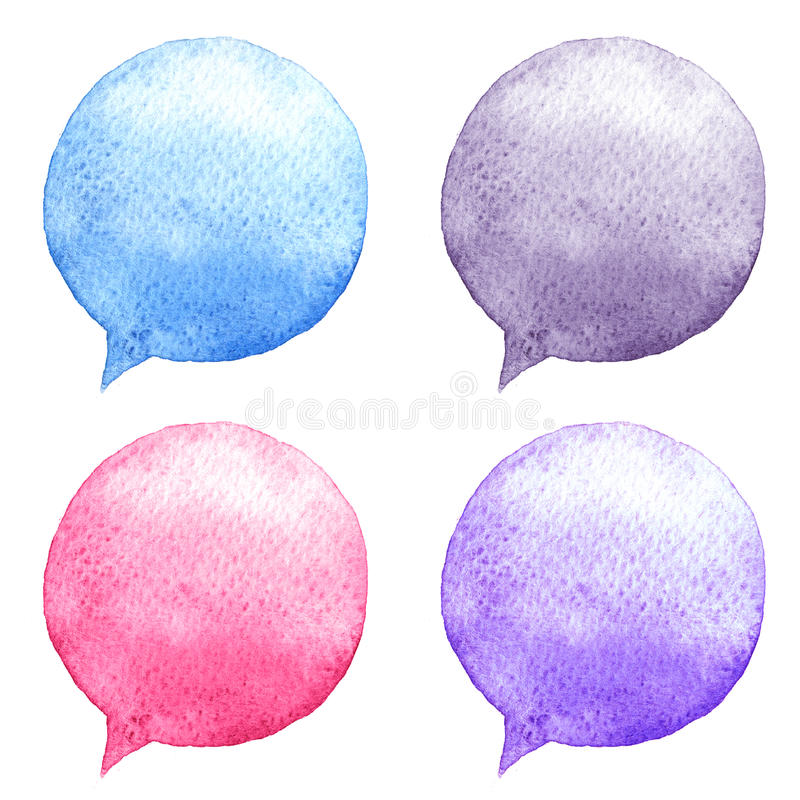 Watercolor speech bubbles set. Hand-drawn illustration. Social media icons. vector illustration