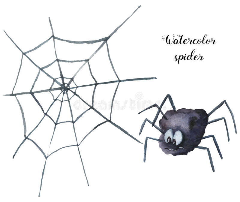 Watercolor spider. Hand painted helloween illustration isolated on white background. Magic character with web for desig royalty free illustration
