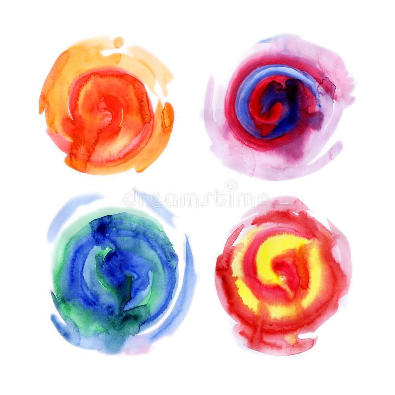 Watercolor spiral paint dab isolated on white background. Abstract free designs clip art background. Rainbow paint round splashes. With color mixture overflow royalty free illustration