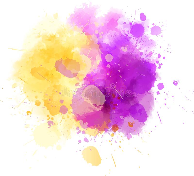 Watercolor splash blot - yellow and purple. Abstract splash watercolor paint blot - template for your designs. Yellow and purple colored royalty free illustration