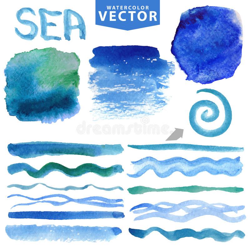 Free Watercolor Splash,brushes,waves.Blue Ocean,sea.Summer Set Royalty Free Stock Photo - 68443445
