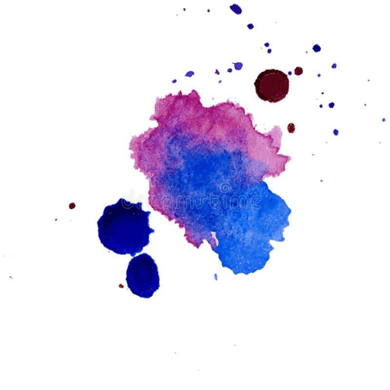 Watercolor splash texture background isolated. Hand-drawn blob, spot. Watercolor effects. Blue winter seasonal colors abstr. Watercolor splash texture pastel stock illustration