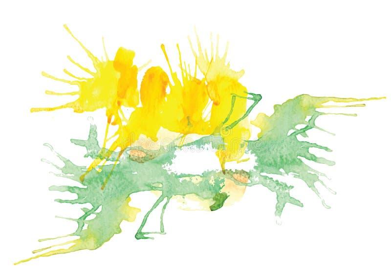 Watercolor splash vector watercolor brush design ,card red color. Watercolor splash vector watercolor brush design for background or card green color stock illustration