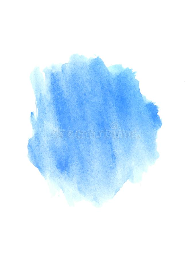 Watercolor splash on white background. Blue watercolor splash on white background stock images