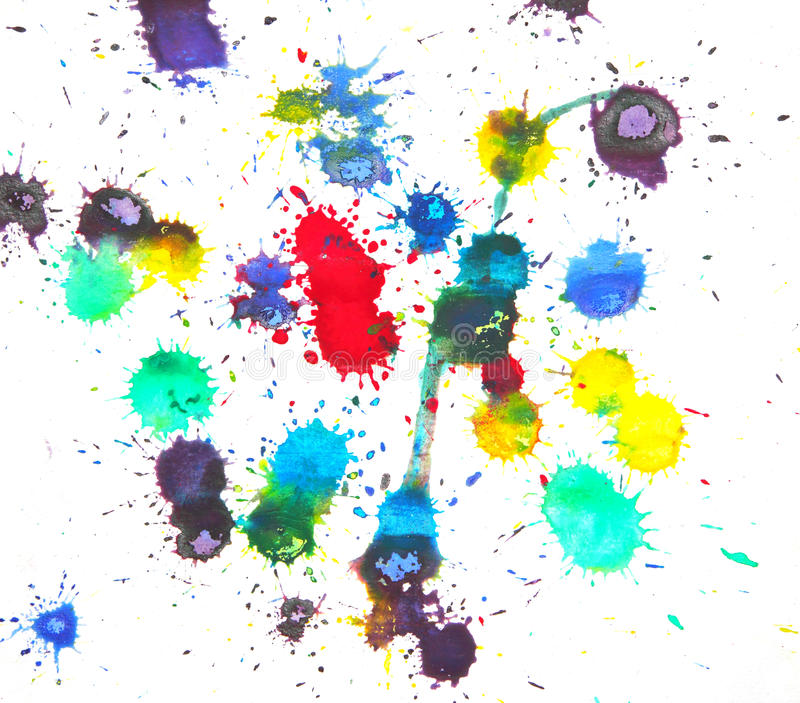 Watercolor splashes. Multicolor grunge watercolor Splashes on a paper for background royalty free stock photography