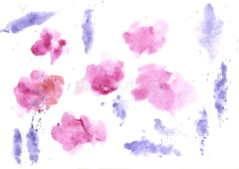 Watercolor splashes texture background. Hand drawn blue and purple blots drawing. vector illustration