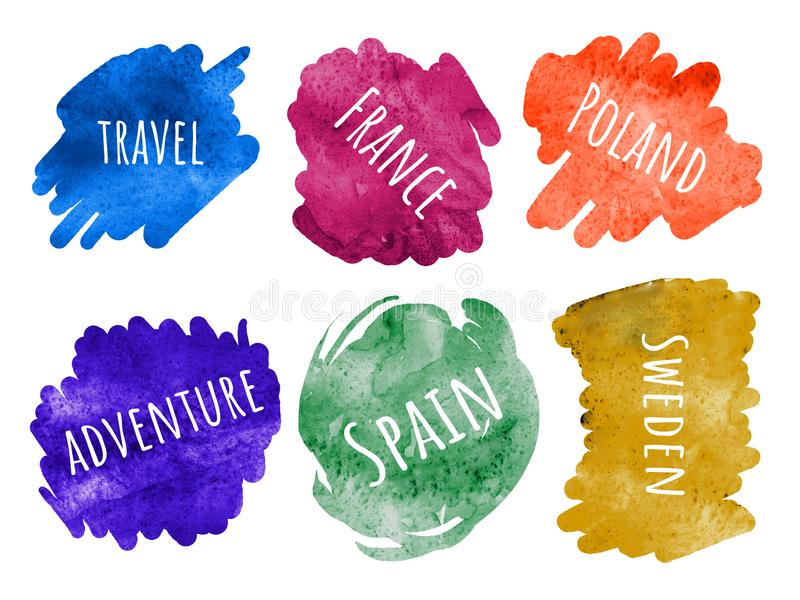 Set of stickers letteling phrases - Travel collection - Europe stock illustration