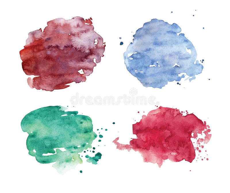 Watercolor spots set. Realistic colorful stains. vector illustration
