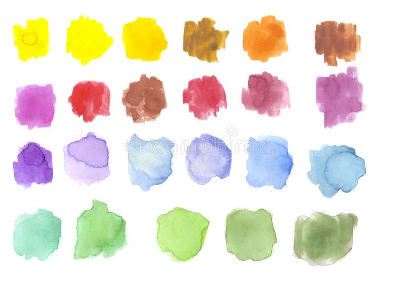 Watercolor spots / splashes isolated on white. hand drawn illustration. palette. stock illustration