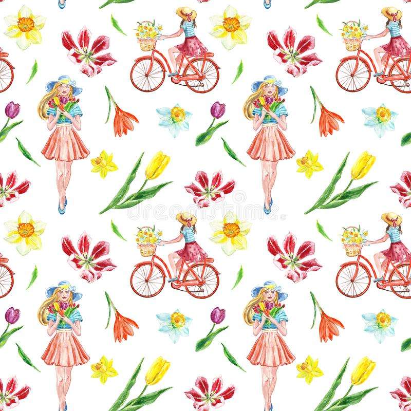 Watercolor spring bike ride seamless pattern with cute girl and colorful flowers on white background. Watercolor spring and summer bike ride seamless pattern vector illustration