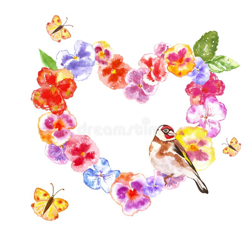 Watercolor spring bird on floral wreath. Colorful festive spring background with decorative heart frame with pansies. Flowers, isolated. Best for holiday cards royalty free stock photography