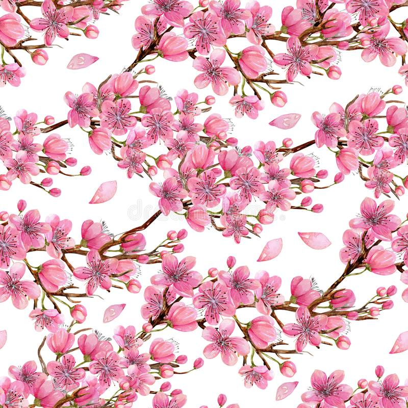 Watercolor spring blooming cherry tree branches seamless pattern vector illustration