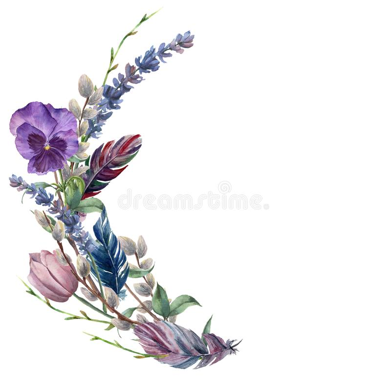 Watercolor spring feather wreath. Hand painted border with lavender, pansies flower, willow, tulip and tree branch with. Leaves isolated on white background royalty free illustration